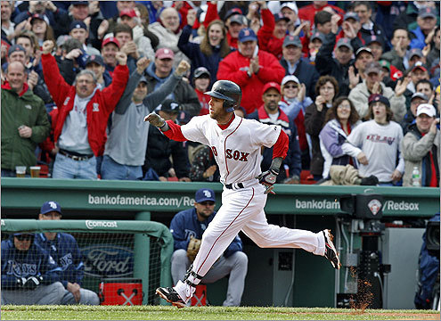 New season, same story for AL MVP Dustin Pedroia, who hit the second pitch he saw this season over the Green Monster for a solo home run in the first inning.
