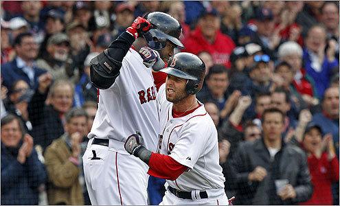 David Ortiz congratulated Pedroia as he crossed home plate after his solo homer in the first inning.