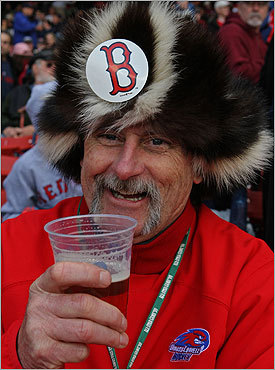 Red Sox fan Bobby Delaney attended the Red Sox' home opener for the 28th straight year, and he seemed to be enjoying himself.