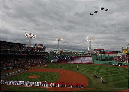 As game time approached, the Red Sox held a number of ceremonies on the field before the season opener began. Following the national anthem, the 104th Fighter Wing from the Barnes Air National in Westfield soared over Fenway Park.