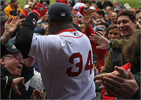 One of the team's most popular players, Ortiz had a difficult time making it past the excited Fenway crowd.