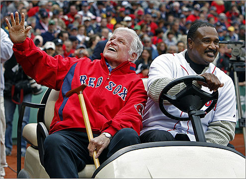 Red Sox Hall of Famer Jim Rice drove Sen. Edward M. Kennedy on the field in a golf cart so Massachusetts' senior senator could deliver the ceremonial first pitch. Kennedy has been battling brain cancer.