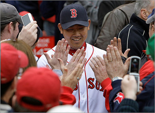 Pitcher Daisuke Matsuzaka, an 18-game winner last season, received a warm welcome from Sox fans as he took the field.