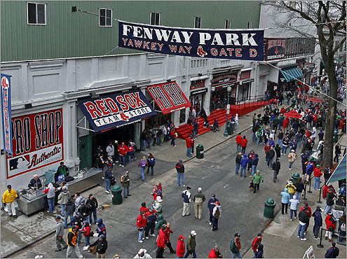 Yawkey Way was the place to be before the game Tuesday. Check out the scene inside and around Fenway Park on Opening Day.