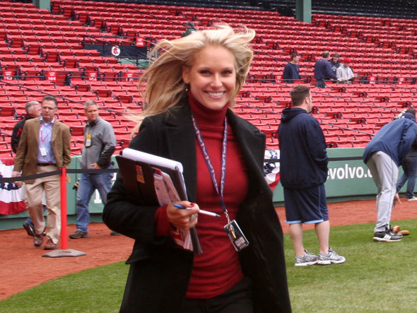 NESN reporter Heidi Watney walked on the field before the game to begin another season of Red Sox coverage.
