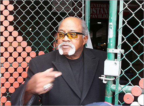 Red Sox Hall of Famer Luis Tiant greeted fans at the gate as they arrived at the ballpark. Tiant won 20 or more games three times during his eight seasons pitching for the Red Sox.