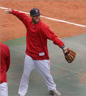 Reigning American League Most Valuable Player Dustin Pedroia was all smiles while playing catch on the field before the game.
