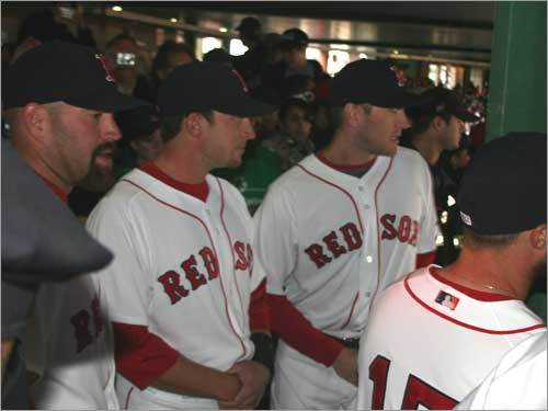 Red Sox players gathered in the stands before the start of the game.