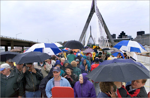 An estimated 250,000 people braved rain and Celtics traffic to walk the span on May 12, 2002.