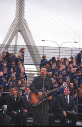 On a drizzling morning on Oct. 4, 2002, Zakim's Grateful Dead bootlegs blasted on speakers as hundreds, including US Senator John F. Kerry, attended the bridge's dedication. Another attendee: Zakim friend and rock idol, Bruce Springsteen, who told the crowd: 'We honor Lenny by continuing his fight for social justice.' Then Springsteen sang 'Thunder Road,'' accompanied by his harmonica, his guitar, and a choir of Boston schoolchildren.