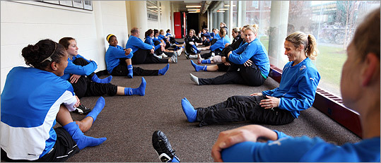 Boston Breakers stretch after practice
