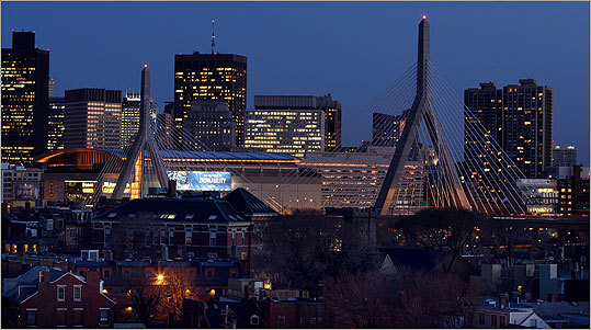 The Leonard P. Zakim Bunker Hill Bridge shut off it's familiar blue lights as part of Massachusetts Turnpike Authority cost-cutting efforts.