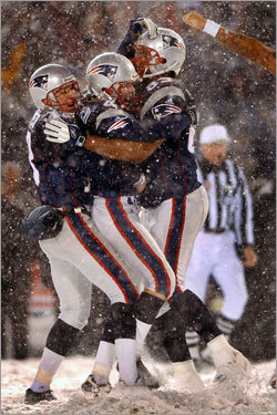 Vinatieri is the only kicker with two last-minute Super Bowl-winning field goals to his credit, and yet there may not be a more clutch kick in the annals of professional football than his game-tying boot late in the 2001 AFC Divisional Playoff matchup with the Oakland. Played in a classic New England snowstorm, with winds whipping up to 40 miles per hour, Vinatieri trotted on to the field with 32 seconds remaining in the fourth quarter and the Patriots trailing, 16-13. He punched a low line-drive that somehow fluttered over the crossbar, sending the game into overtime. A few minutes later, the Patriots prevailed, 19-16. A few weeks later, they were champions. Not a bad way to close out old Foxboro Stadium.