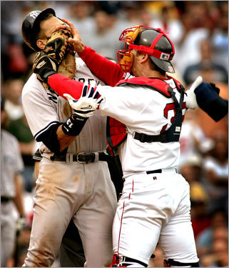 Trailing by 9 1/2 games in the AL East and down by a 3-0 score in the third inning, Sox starter Bronson Arroyo hit the Yankees' Alex Rodriguez in the arm. Rodriguez hollered at the skinny righthander, prompting Varitek to step between them. A-Rod offered some choice words of advice, the catcher countered by giving the Yankees superstar a closeup of his catcher's mitt, and the brawl was on. The Red Sox rallied for an 11-10 victory when Bill Mueller smacked a walkoff homer off Yankees closer Mariano Rivera. While the victory is considered the turning point in the season, it actually wasn't -- the Sox went 5-5 over their next 10 games. But it was a sign that the Sox weren't going to take it anymore, and the image epitomized how the 2004 season played out.