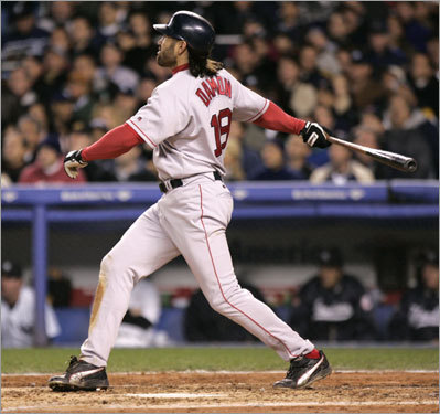 Some might rank Damon's second-inning blast, which came as the first batter to face Yankees reliever Javier Vazquez after a putrid performance by starter Kevin Brown, a few notches down this list. Here's why it deserves this bronze-medalist perch: It allowed Red Sox fans to finally exhale, to enjoy the realization that overcoming the Yankees in the most spectacular and improbable way possible was really going to happen. Ghosts, demons, and curses, Grady, Boone, and Bucky -- at long last, they would relegated to irrelevence, and the Red Sox' tortured history would no longer hang ominously over the present. Damon's shot turned a 2-0 game into a 6-0 game, but it did so much more than that. It told us that a seismic change was underway.