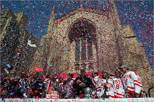 White and red confetti floated through the air today as a jubilant crowd celebrated Boston University's NCAA hockey championship. BU came back from a 3-1 deficit to beat Miami University (Ohio) for the title on Saturday.