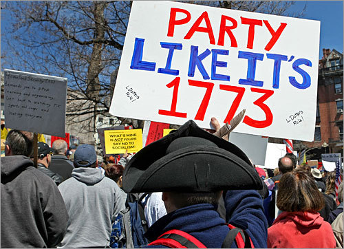 About 1,000 people showed up at Boston Common today for a tax-day protest designed to echo the rebellion of the Boston Tea Party. The scene was repeated in several states around the country, as protesters used the final day of tax filing to voice their displeasure with the government over the practice.