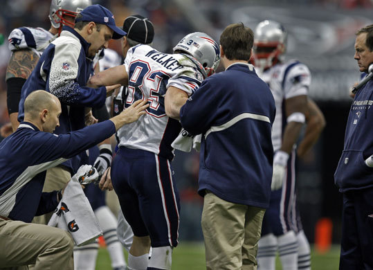 Wes Welker The Patriots run for a Super Bowl championship was seriously derailed for the 2009-10 season when Pro Bowl wide receiver Wes Welker went down with a season-ending knee injury during the first quarter against the Houston Texans at Reliant Stadium. Welker tore his left anterior cruciate ligament (ACL) and medial collateral ligament (MCL). The absence of Welker, who was viewed by many as the team's MVP this season, left a gaping hole in the Patriots receiving corps as Welker caught 123 passes before the injury. The Patriots went on to lose to the Baltimore Ravens at Gillette Stadium in the first round of the playoffs, 33-14.