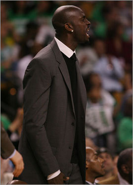 His injury didn't stop Kevin Garnett from supporting his teammates from the sideline in the first half. He stayed in the locker room for the second half.