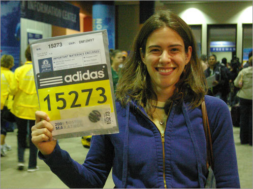 Emily Garai, 25, of Burlington, Vt., is running her first Boston Marathon. 'I got so excited when we were driving into the city,' Garai said.