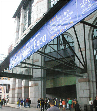The Sports and Fitness Expo opened to Boston Marathon runners and the public on Friday and Saturday. Runners picked up their bib numbers and walked around the many expo booths at Hynes Convention Center.