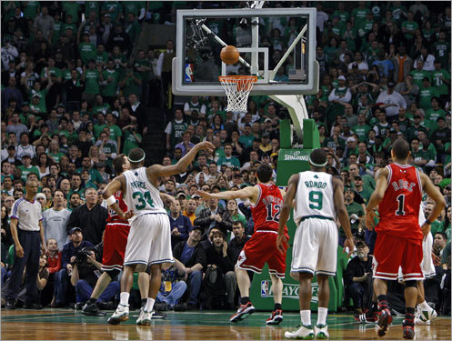 ... where he hit one of two free throws to send the game into overtime. Pictured, Pierce tried body English (to no avail) to help the second free throw drop.