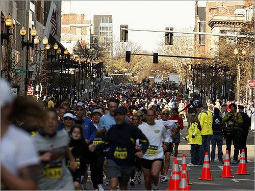 5K runners made their way down Boylston Street.