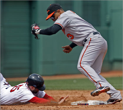 Dustin Pedroia, who was 4 for 6 in the game, got back to second base safely to beat a fifth-inning pickoff attempt.