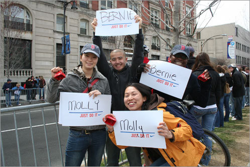 (Clockwise from top) Boston University graduate students Jimmy Tong, Yumi Ujihara, Kayoko Enomata, and Femi Lafe awaited the arrival of their friends and runners Bernie and Molly. 'Bernie is a top competitor,' Tong said about his roommate. 'He's always up at 6 a.m., running 20 miles.'