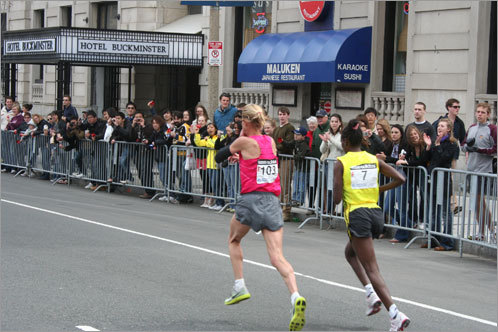Almost there: The crowd cheered on the elite women runners.