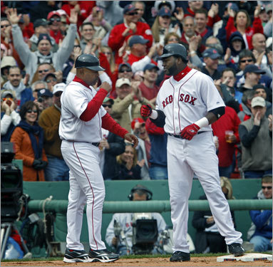 Ortiz got a hand from third base coach DeMarlo Hale -- and the Fenway crowd -- as he pulled into third base.