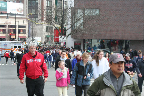 Fans streamed out of the T and toward Fenway Park for the start of the Red Sox game.