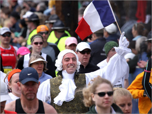 A french connection? A runner show his support for France as he begins his trek at the starting line.