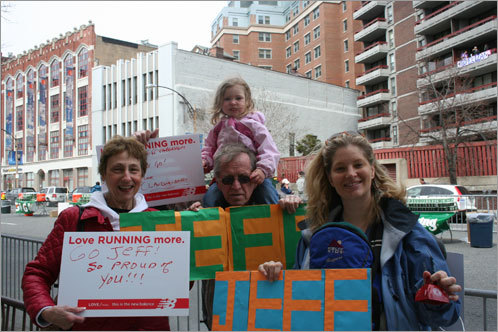 This family flew in from Wisconsin to cheer on Jeff in his first Boston Marathon. From left: Jeff's mom Darlene, dad Mike, wife Martha, and his two kids, Audrey, 9 weeks, and Claudia, 2 1/2. Claudia's been to three of her dad's marathons; it was Audrey's first time.