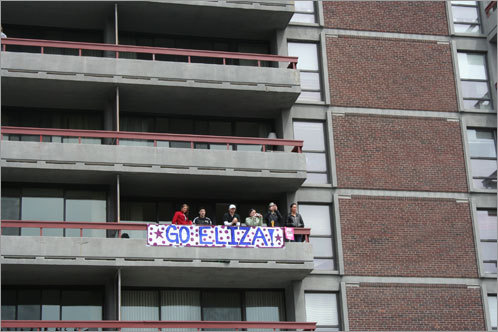 Eliza's friends and family had a great vantage point overlooking the action in Kenmore Square.