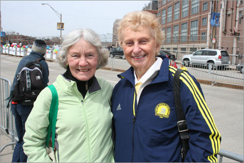 Helen Dobson of Littleton, Col., and her friend Ruth Broughton of Littleton, Mass., waited to cheer on Dobson's daughter, Martha. 'This is so exciting. I just had to come,' Dobson said of making the trip from Colorado to Boston for the race.