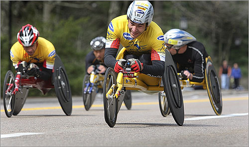 Wheelchair racers cruised through Wellesley on their way to Boston.