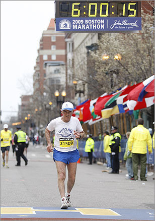 Stan Vancelette, 72, finished his 33d consecutive Boston Marathon.