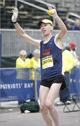 Forty-eight-year-old Gene Gaunt, who suffers from Parkinson's disease, completed the Boston Marathon, which he ran for Team Fox in an effort to raise money for the Michael J. Fox Foundation for Parkinson's Research.