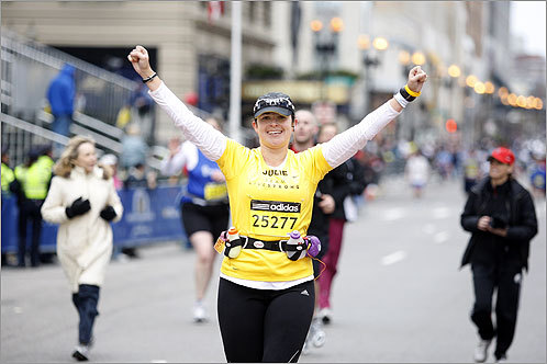 Three-time cancer survivor Julie Wescott, 33, of San Diego, completed the 26.2-mile race.