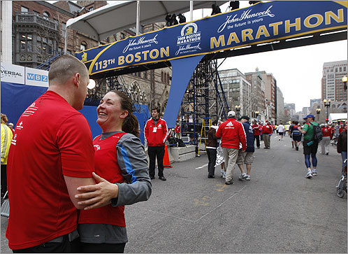 Moments after crossing the finish line, Kevin Barry asked Sarah Hasenfus, both of Needham, to marry him. She said yes.