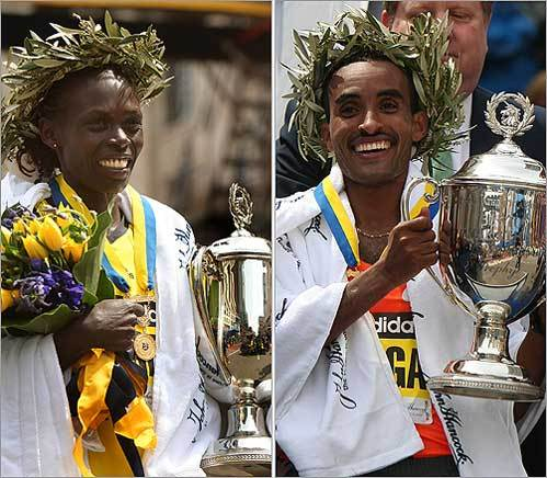 Women's winner Salina Kosgei of Kenya, left, and men's winner Deriba Merga of Ethiopia led an elite class of runners in the Boston Marathon.