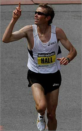 Hall finished third. It was the best finish by an American since Meb Keflezighi's third in 2006.