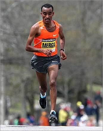 Merga, the eventual winner, led the field on Heartbreak Hill in Newton.
