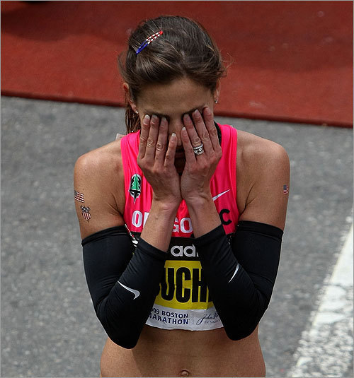 Kara Goucher was visibly upset at the finish line. Goucher, 30, of Portland, Ore., finished third.