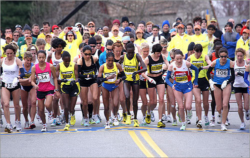 The elite women runners took off from the starting line in Hopkinton at 9:32 a.m., kicking off the 113th Boston Marathon.