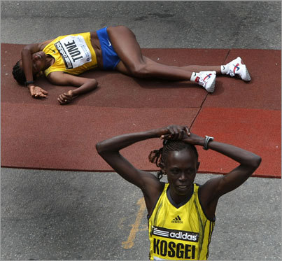 After finishing just behind Kosgei, Tune collapses almost immediately.
