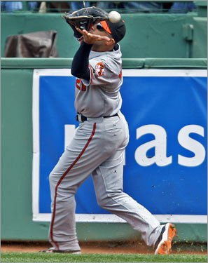 Orioles right fielder Nick Markakis misplayed a second-inning fly ball of the bat of the Red Sox Rocco Baldelli that went for a three-base error.