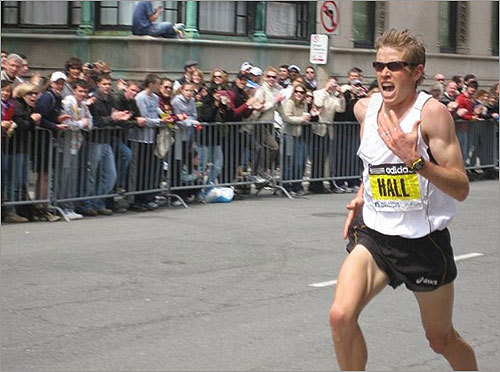 Readers are submitting photos of the Boston Marathon from all over the course. Take a look at some of the best. Reader Martin Checkoway sent in this photo of third-place finisher America Ryan Hall barreling down Boylston Street toward the finish line in Copley Square.