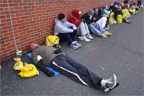 Runners relaxed at Hopkinton Middle School before the race.